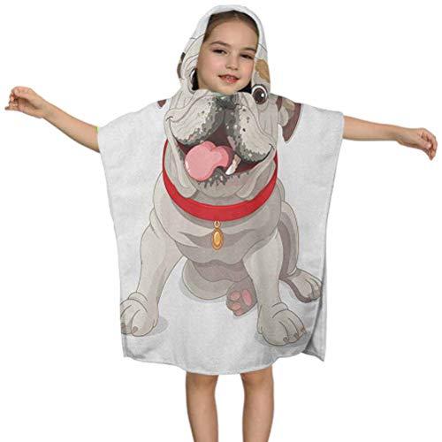 Toalla de playa para niños Bulldog inglés Happy Puppy con un collar rojo con ilustración de animales de raza pura, 61 x 60 cm de microfibra para niños niñas de 3 a 7 años Poncho Cape