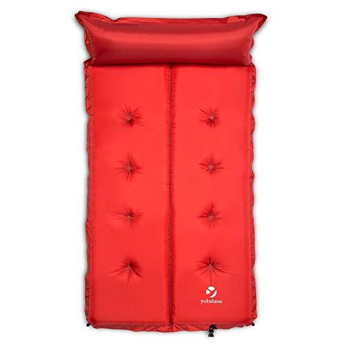 Yukatana Goodbreak 5 Doppel Camping Isomatte Luftmatratze selbstaufblasend für 2 Personen (5cm dick, mit Kopfteil/Kopfkissen, geringes Packmaß, ausrollbar) rot