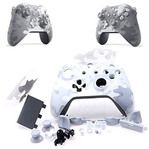 Deal4GO Transluzente Frontplatte, vollständiges Gehäuse mit vollen Tasten, Thumbsticks, Ersatz für Xbox One S Wireless Controller 1708, Weiß/Grau