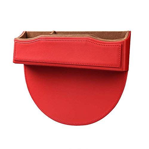 LXJ-LD Bolsillo lateral para asiento de coche, organizador universal reversible para espacio de asiento de coche, para asiento de conductor y pasajero, color rojo
