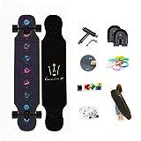 WRISCG Longboard Tabla Completa, Drop-Through Freeride Skate Cruiser Boards, Rodamientos de Bolas ABEC Alta velicidad, 8 Capas Flexible de Arce, 25x108cm Longboard Skateboard,C
