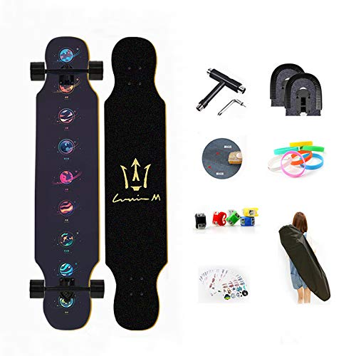 WRISCG Longboard Skateboard Drop Through Cruiser Komplettboard, High Speed ABEC Kugellagern, 8-lagiger Ahorn, Drop-Through Freeride Skaten Cruiser Boards Mit Skateboard Rucksack,C
