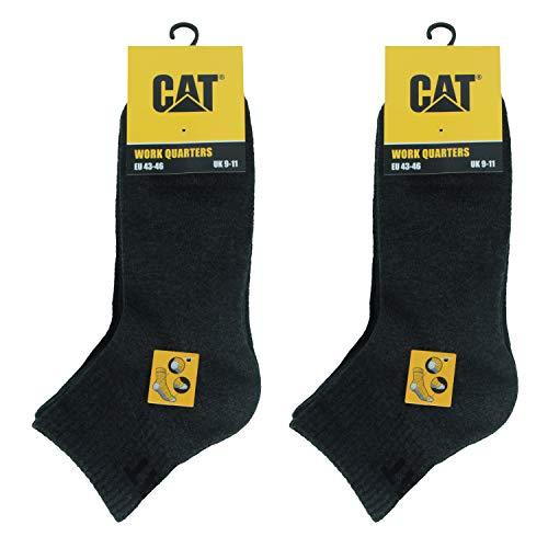 Caterpillar Quarter Socks 6 Paar Arbeitssocken für Herren, Höhe über dem Knöchel, verstärkt an Zehen & Fersen, Baumwolle von ausgezeichneter Qualität (Anthrazit, 43-46)