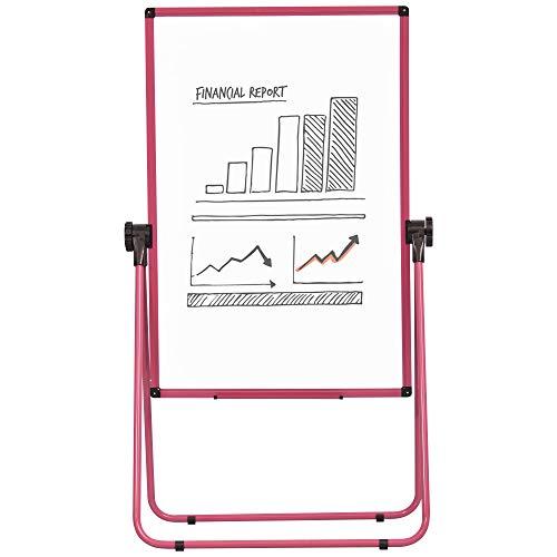Chevalet de conférence pliable - tableau blanc magnétique double face - pivotant, réglable en hauteur 73L x 45l x 92-158H cm - rose