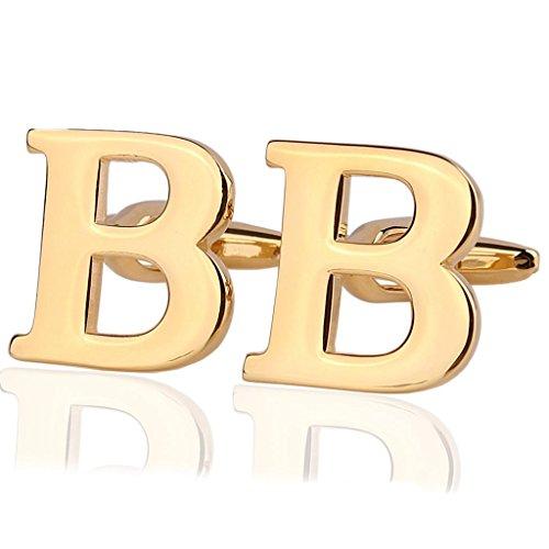 AmDxD Bijoux Chemises Collections de boutons de manchette pour homme Lettre de l'alphabet B Doré Environ 18 20