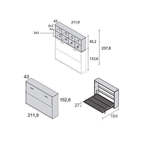 Meubles ROS Lit escamotable et étagères - 237,8 x 211,9 cm - Chêne/Gris Ardoise