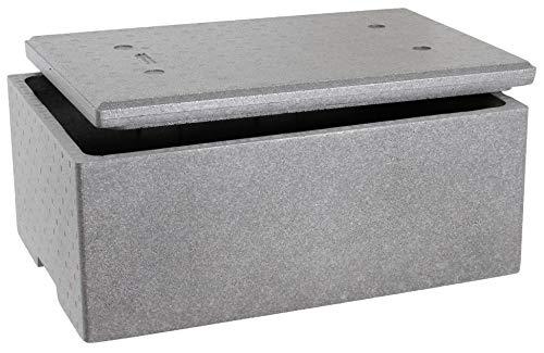 Sebutec Neopor® EPS Styroporbox Thermobox mit Deckel Außenmaß 60x40x26cm mit ca. 39 Liter Fassungsvermögen(1x Neoporbox)