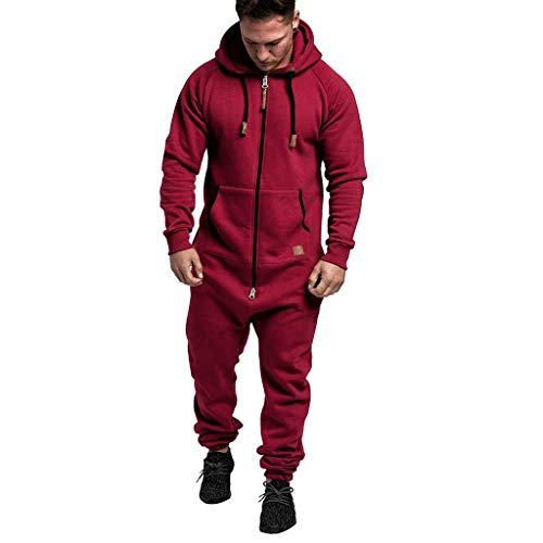 Men Full Zip Athletic Sweatsuit Coverall Set Outfit Jogger Running Sport Set Casual Loose Fit Sweatsuit Hoodie Pants Red