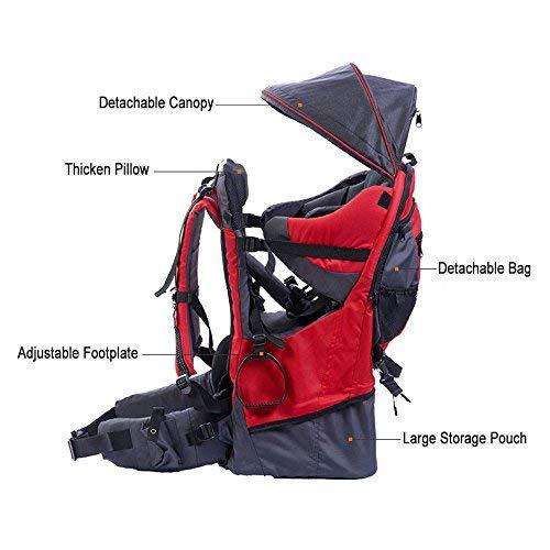 Mochila portabebés de montaña, con protector de lluvia y sol, rojo
