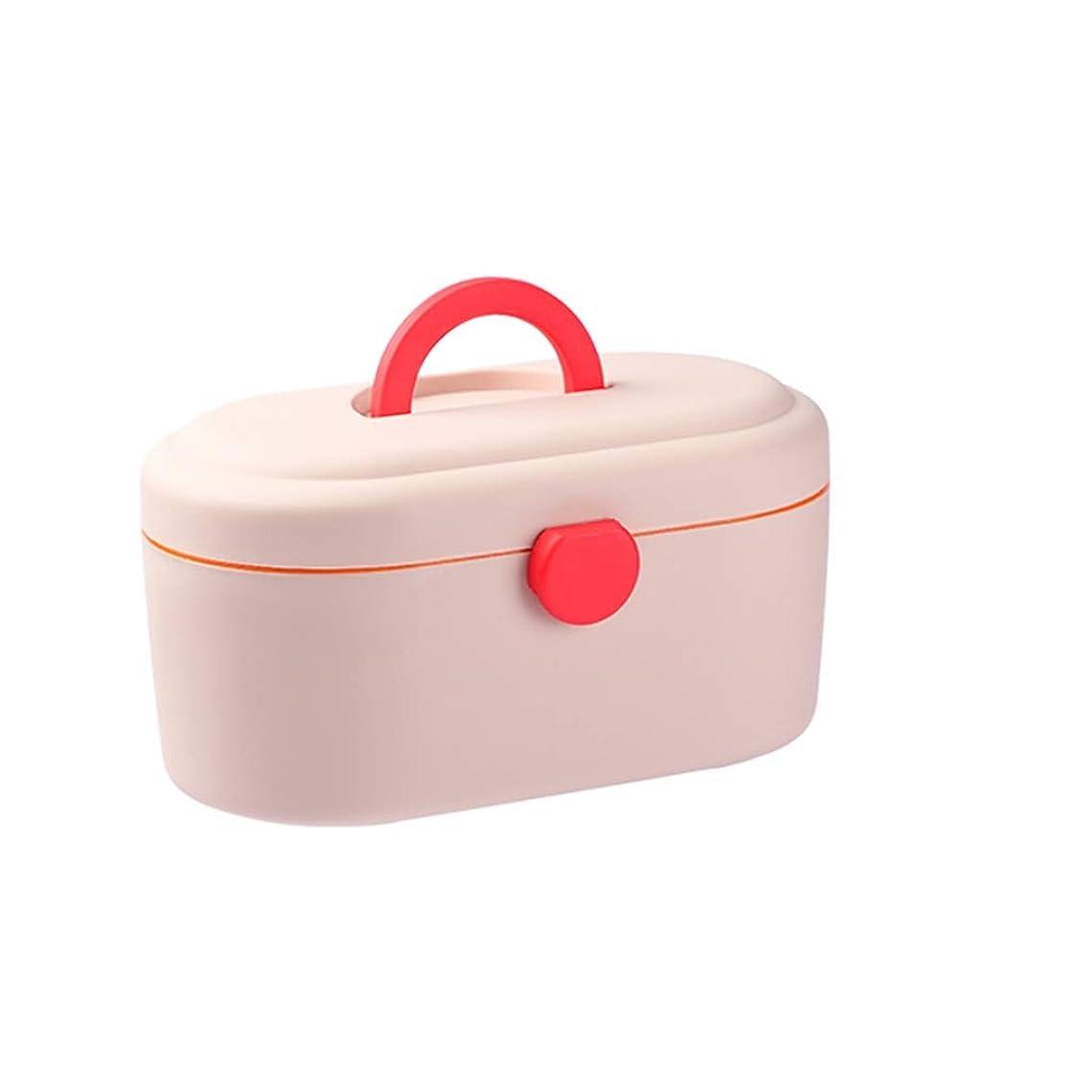 SGLI 家庭用薬箱、大容量のプラスチック製の携帯用薬用収納ボックス、家庭用多層救急箱 (Color : Pink)