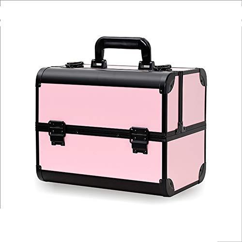 Valigetta professionale di grande capienza della cassetta portautensili portatile di trucco portatile dell'artista cosmetico di caso,Pinkblack