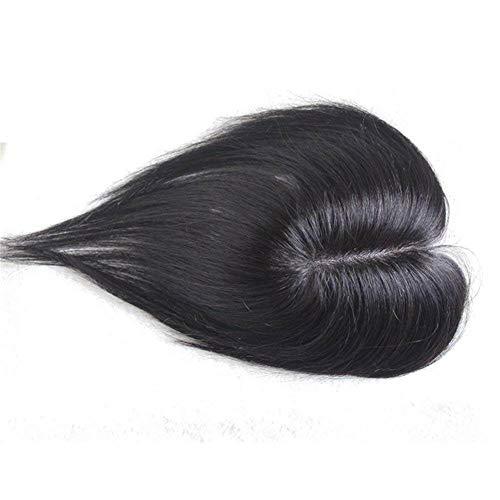 Toupee à Pince Cheveux Brésilienne Cheveux à clips Remplacement Supérieure Lace Topper pour les Femmes avec Cheveux Clairsemée et Blanc 7 * 11CM 20CM Noir