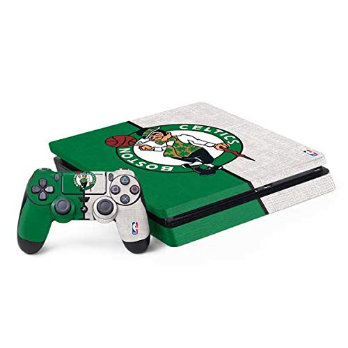 Skinit Decal Gaming Skin Compatible with PS4 Slim Bundle - Officially Licensed NBA Boston Celtics Canvas Design