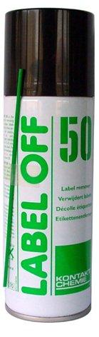Oplosmiddel voor het verwijderen van etiketten of lijm spray 200 ml, LABEL OFF 50