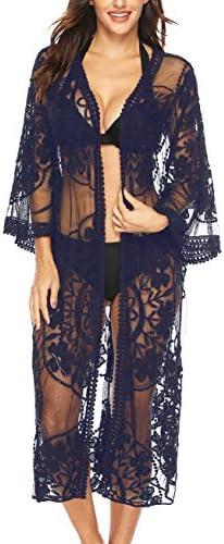 Womens Lace Crochet Cover Up Cardigan Long Boho Beach Swimsuit Coverups Kimono Navy product image