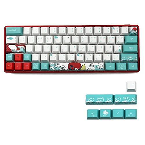 Cdoohiny Ruso Japonés 71 teclas de mar Coral Ukiyo-e Keycap tinte sublimación perfil OEM teclado mecánico teclado teclado para GH60 XD64 DZ60 GK61 GK64 cereza keycaps set
