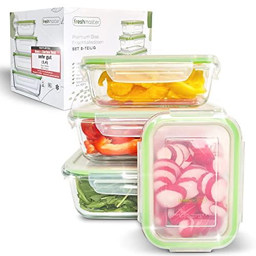 Fresh Master Lot de 8 boîtes de conservation en verre pour aliments - 100 % étanches + hermétiques avec couvercle