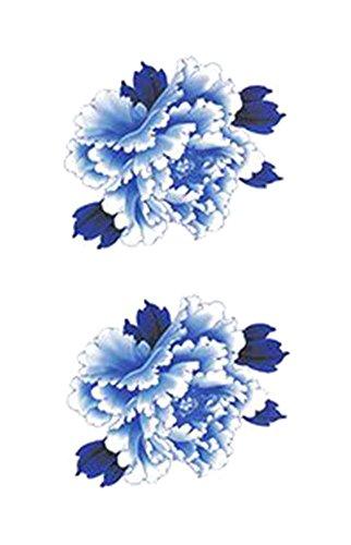 1 jeu d' uniques fleurs motif bleu tatouage autocollants imperméables