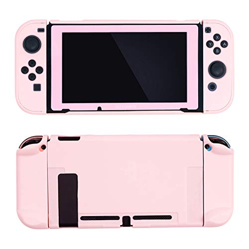 GeekShare Slim Protective Cover Case for Nintendo Switch Console and Joycon -Soft Touch and Anti-Scratch DIY Replacement Shell for Nintendo Switch (Pink & Tempered Screen Protector)