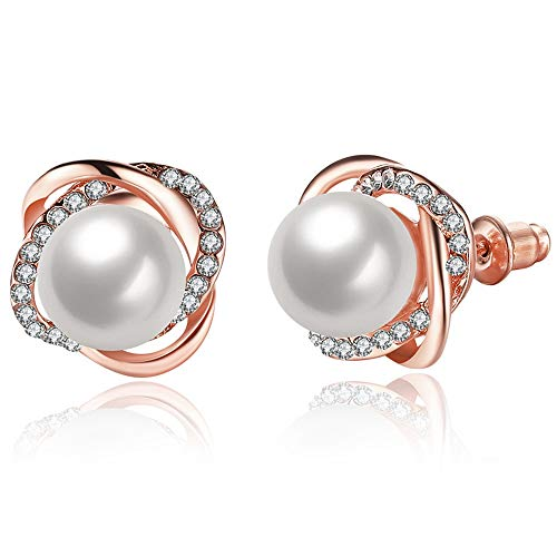 Silver Rose Gold Pearl Knotted Stud Earrings (Rose Gold)