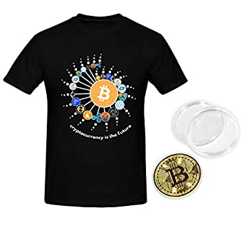 Ta-Ta Frog Bitcoin Future T-Shirt Men Short Sleeve Crypto Tee Shirt with Physical Gold Coin for Fan