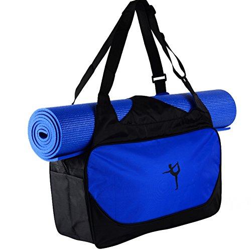 Etopfashion wasserdichte Fitness-Tasche, Rucksack, Umhängetasche mit verstellbaren Riemen (nur Tasche), mit Halterung für Yoga-Matte, damen, dunkelblau