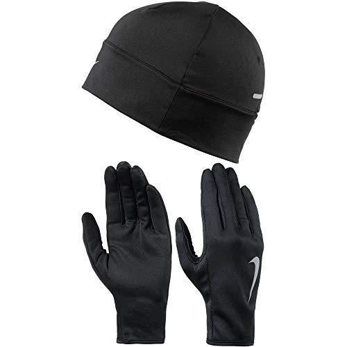 Nike Damen Run Dry Hat undGlove Handschuhe Und Mütze Set, Black/Silver, XS/S