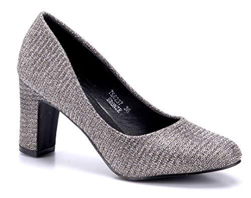 Schuhtempel24 Damen Schuhe Klassische Pumps Bronze Blockabsatz Glitzer 8 cm