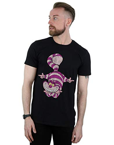 Disney Men's Alice in Wonderland Cheshire Cat Upside Down T-Shirt Black Large