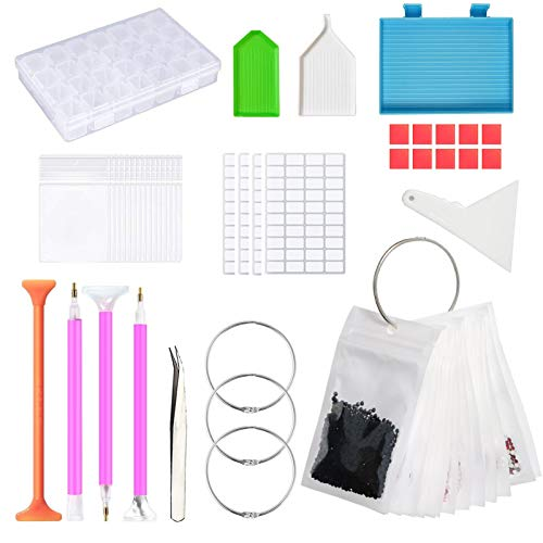 YEAJON Diamond Painting Tools and Accessories Kits with Diamond Storage Box, Large Bead Storage 50pcs Bags, Loose Leaf Binder Rings, Diamond Tray for DIY Art Craft