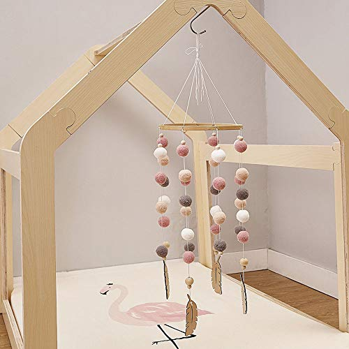 Cozyhoma Baby Mobile Filzball Mobile Kinderzimmer Decke Mobile Windspiel Bett Glocke Rassel Spielzeug Hängende Deko Fotografie Requisiten