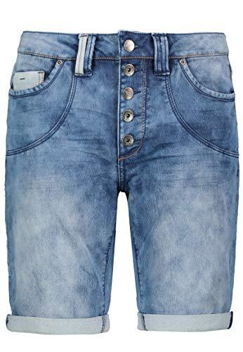 Urban Surface Damen Jeans Bermuda Shorts mit Knopfleiste Middle-Blue M