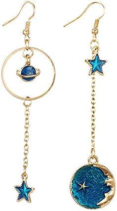 angel3292 2021 New Style Blue Sun Moon Star Tassel Dangle Ear Hooks Women Fashion Earrings Jewelry product image