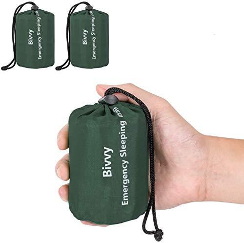 Zmoon Emergency Sleeping Bag Waterproof Lightweight Thermal Bivy Sack Survival Blanket Bags Portable Nylon Sack Camping, Hiking, Outdoor, Activities (2 Pack)