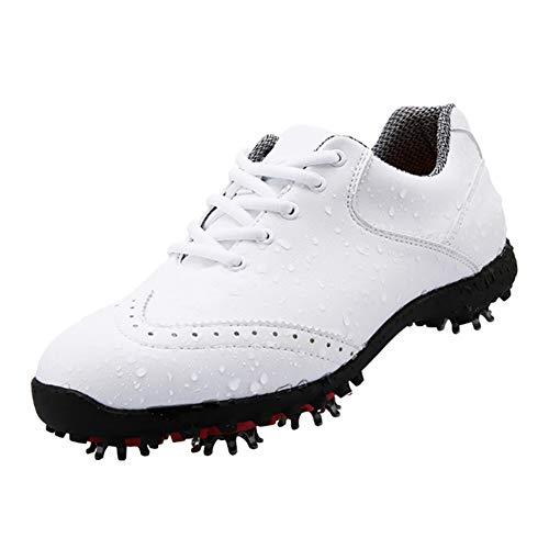CGBF - Zapatillas de golf antideslizantes para mujer, de microfibra, cómodas, transpirables, para correr, impermeables, para exteriores, color Blanco, talla 37 EU