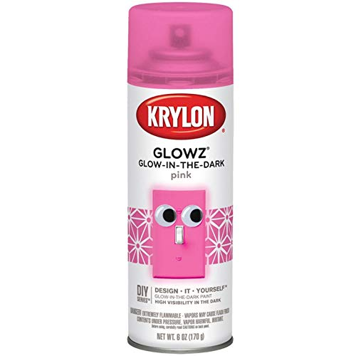 Krylon K03155007 Glowz Spray Paint, Glow-In-The-Dark Pink, 6 Ounce