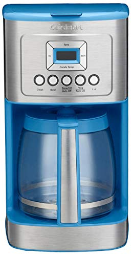 Cuisinart DCC-3200 14 Cup Glass Carafe with Stainless Steel Handle Programmable Coffeemaker, Sky Blue