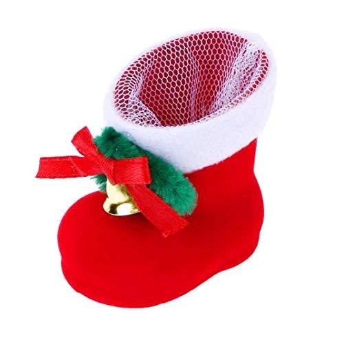 Tia-Ve Mini bottes de Noël pour bonbons, cadeaux, sac de rangement avec nœud, clochette, décorations de Noël