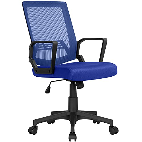 Yaheetech Silla de Oficina Silla Malla Silla Giratoria para Trabajo Altura Ajustable Silla Escritorio Azul