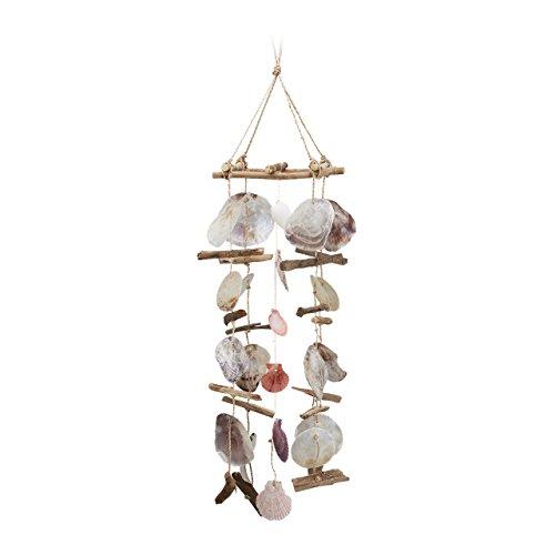 *Relaxdays Windspiel mit Treibholz, Capiz-Muscheln, Jakobsmuscheln, großes Klangspiel als Strand Deko für Garten, bunt*