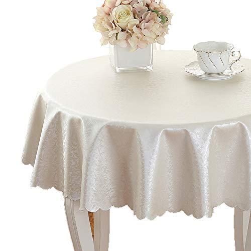 Couverture de table waterproofcircular Tableclothsgreat rond pour table de buffet, Très jolie décoration pour, Repas de fête, Mariage & plus Nappe tissu flux-blanc diamètre260cm(102inch)