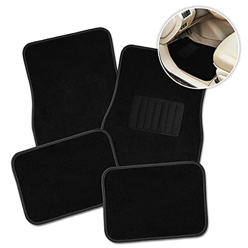 Zone Tech All Weather Carpet Vehicle Floor Mats- 4-Piece Black Premium Quality Carpet Vehicle Floor Mats Plus Vinyl Heel Pad for Additional Protection - Driver Seat, Passenger Seat and Rear Floor Mats