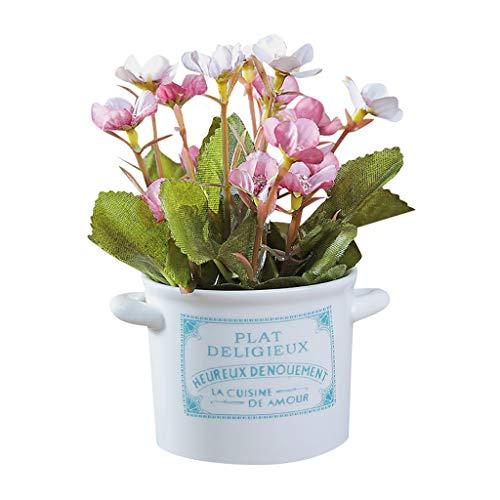 TIREOW Keramiktöpfe Kunstpflanzen Topf Wohnzimmer Schreibtisch Dekorative Blumen Blumeneimer Künstlich Gefälschte Blume für Schlafzimmer Büro Café (Lila)