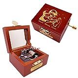 Youtang Caja de música de manivela con forma de castillo de aull's Moving de madera tallada, regalo para Navidad, cumpleaños, día de San Valentín (manivela roja, aullón y Sophie-plata)