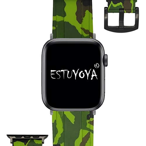 ESTUYOYA - Pulsera de Silicona Compatible con Apple Watch Colores Camuflaje del Ejercito Ajustable Suave Estilo Deportiva Elegante para 42mm 44mm Series 6/5 / 4/3 / 2/1 / SE/Nike+ - Verde
