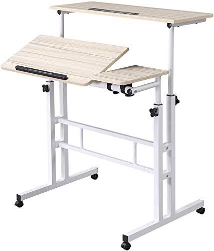 Escritorio móvil de pie altura ajustable escritorio para computadora con ruedas carro para ordenador portátil en casa oficina escritorio portátil mesa de escritura blanco