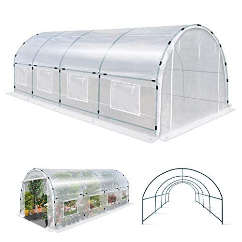 YardGrow 20' X 10' X 7' Half Transparent Larger Walk-in Plant Greenhouse Garden Outdoor with ABS Clamps…