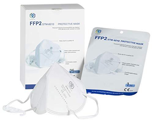 STM Zertifizierte FFP2 Atemschutzmaske Staubmaske Atemmaske 4-lagige Staubschutzmaske Mundschutzmaske 25 Stück einzelverpackt im PE-Beutel
