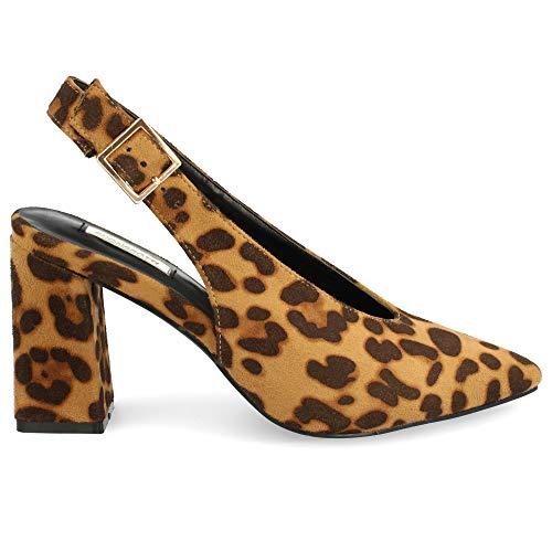 Zapato Salon de Mujer con Punta Fina Destalonado Tacon Alto Primavera Verano 2019. Talla 38 Leopardo