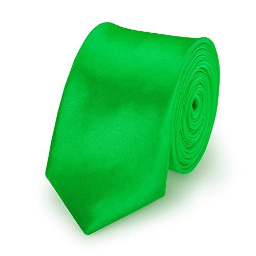StickandShine StickandShine Krawatte Grün slim aus Polyester einfarbig uni schmale 5 cm
